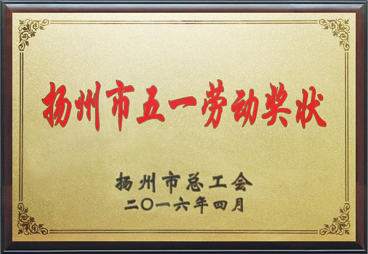 扬州五一劳动奖状